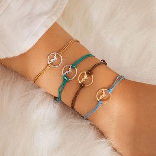 Couple bracelet fashion multicolor braided rope bracelet alloy geometric bracelet NHKQ179059's discount tags
