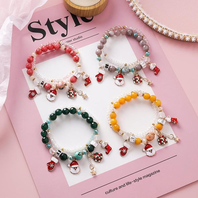 Sweet fashion crystal beaded double-decker Christmas bracelet Santa Claus gloves holiday gift NHMS179136
