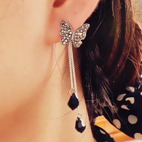 Butterfly full of tassels long drop drop pendant creative earrings fashion earrings wholesale NHKQ179021