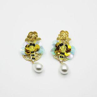 New Baroque Earrings Bee Long Pearl Drops Metal Flower Fashion Earrings NHWJ179303's discount tags