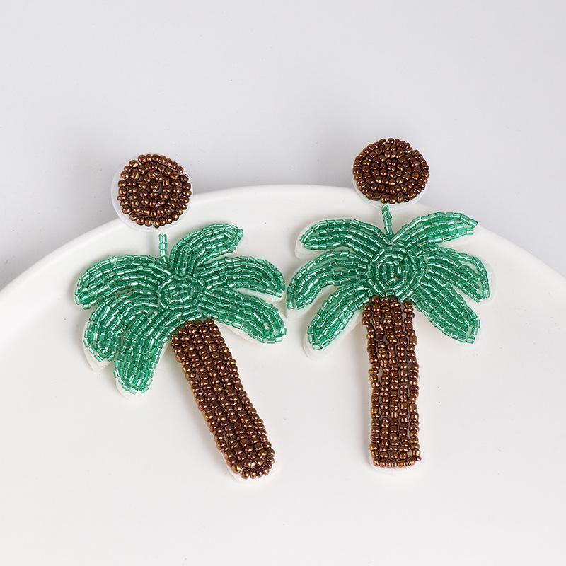 New glass beads coconut tree earrings handmade beaded ear jewelry NHJJ178996