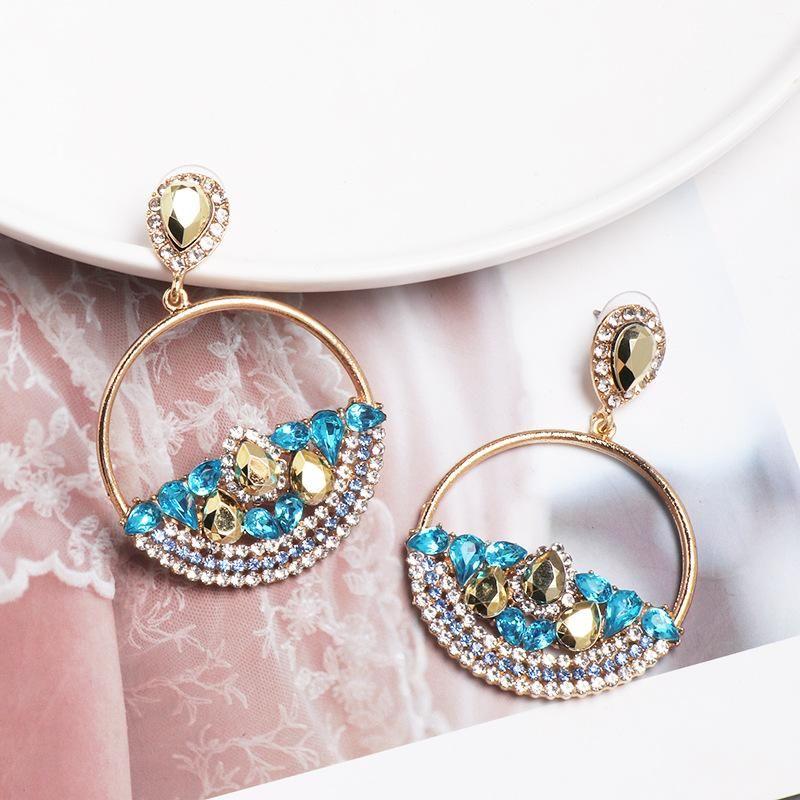 New geometric round earrings female creative simple hollow earrings diamond ear ornaments NHJJ179005