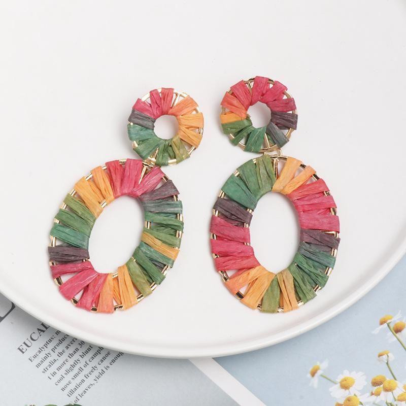 Earrings jewelry alloy dyed color Rafia weave female earrings geometric new style NHJJ179007