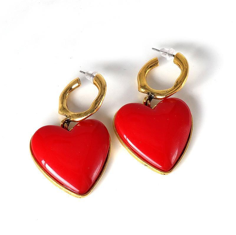 Earrings heart-shaped earrings still paint earrings female NHJJ179014