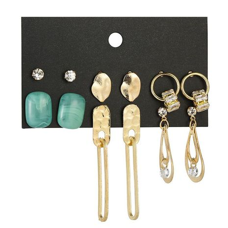 Pendientes pendientes de circón pendientes geométricos retro set accesorios al por mayor NHSD179205's discount tags