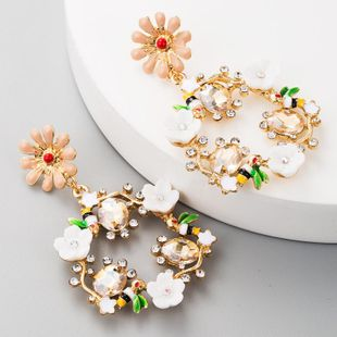 Multi-layer alloy drop oil resin diamond S925 silver needle flower earrings female NHLN179236's discount tags