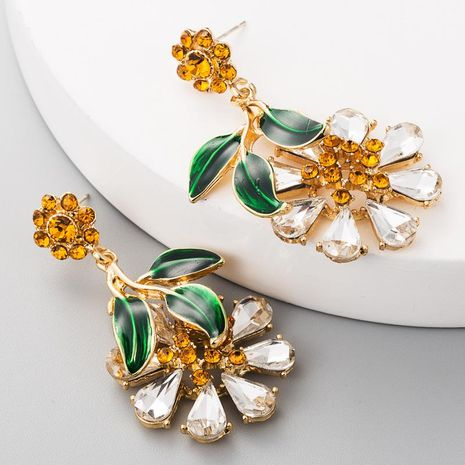 S925 silver needle alloy with rhinestone flower earrings female drop oil leaf earrings wholesales fashion NHLN179239's discount tags