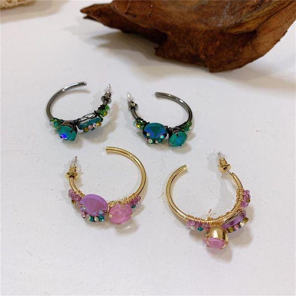 Pendientes retro en forma de C de piedras preciosas de color bohemio de lujo con temperamento de hadas NHYQ179249