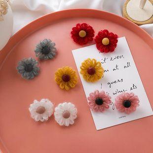 Sweet color velvet flower earrings fashion new handmade wool daisy earrings NHMS179138's discount tags