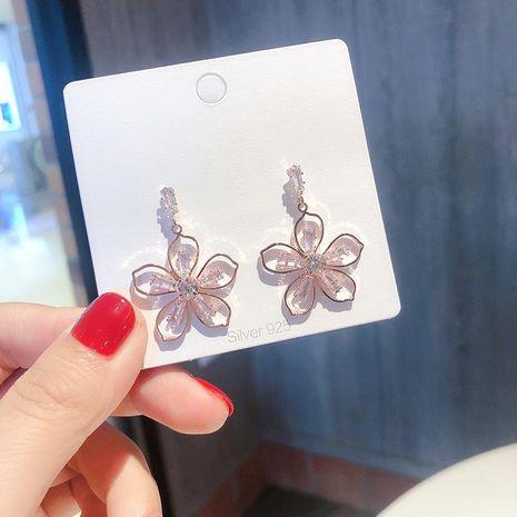 S925 silver simple line flower earrings short fashion elegant artificial crystal zircon flower earrings female NHMS179146's discount tags
