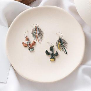 Rhinestone cactus earrings leaves flowers asymmetric fashion girl literary earrings NHMS179161's discount tags