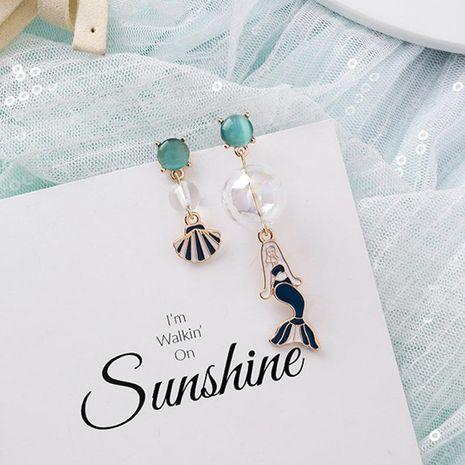 Pendientes de sirena asimétricos de concha de bola de cristal literaria pendientes hechos a mano de niña dulce NHMS179166's discount tags