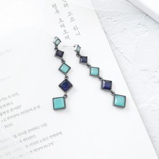 S925 silver retro fashion blue gemstone earrings long fringe temperament ear jewelry female NHMS179167's discount tags