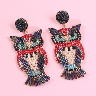 Jewelry New Creative Diamond Owl Earrings Female Bohemian Earrings NHMD179075's discount tags