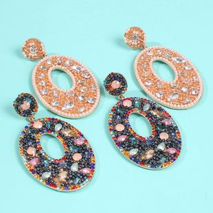 Colorful diamond handmade rice beads earrings fashion creative geometric oval earrings accessories wholesale NHMD179076's discount tags