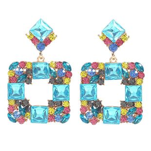 Jewelry fashion new geometric square glass diamond retro earrings NHMD179079's discount tags