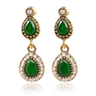 Color-protected gold with diamond red resin drop-shaped earrings NHKQ179057's discount tags