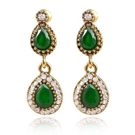 Pendientes en forma de gota de oro con protección de color y diamantes rojos. NHKQ179057's discount tags