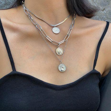 Personalidad de la joyería cadena creativa geométrica elemento de decoración femenina retro en relieve cadena de suéter de retrato de múltiples capas NHXR179118's discount tags