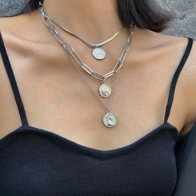 Jewelry personality geometric creative chain item decoration female retro embossed multi-layer portrait sweater chain NHXR179118