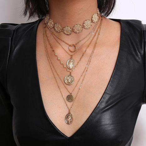 Joyas retro anillo colgante geométrico artículo femenino retrato exagerado punk collar de múltiples capas en relieve NHXR179120's discount tags