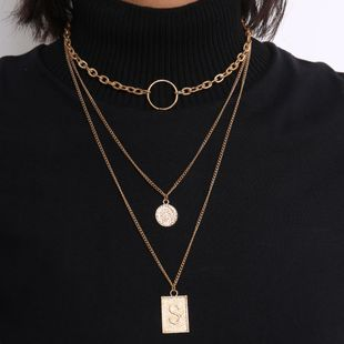 Jewelry simple geometric chain item female ring letter tag retro stack necklace NHXR179127's discount tags