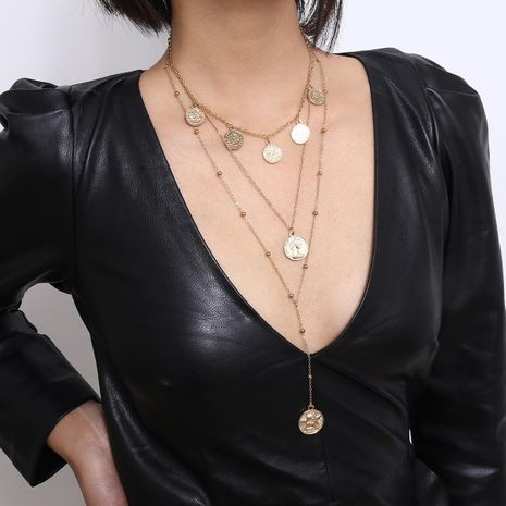 Joyas de temperamento largo decoración de monedas artículo retro femenino de múltiples capas en forma de Y collar de borla retrato NHXR179129's discount tags