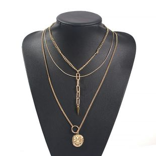 Jewelry Fashion Multilayer Alloy Disc Letter Pendant Chain Necklace NHMD179083's discount tags