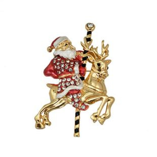 Christmas brooch Santa Claus riding deer brooch with diamond drop oil gift brooch NHKQ179035's discount tags