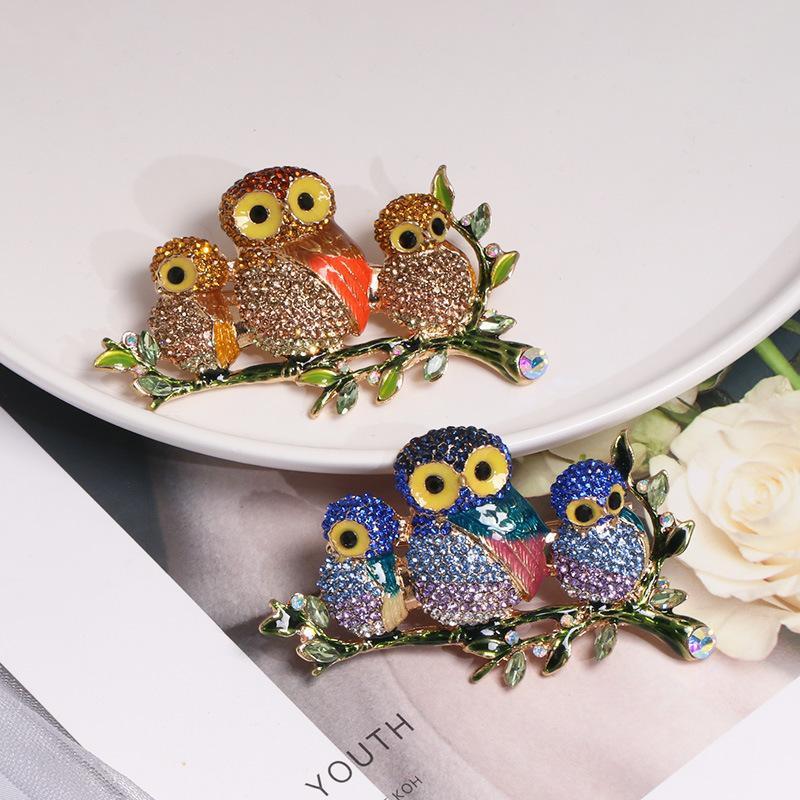 New retro ladies jewelry glass series diamond couple bird brooch NHJJ178994