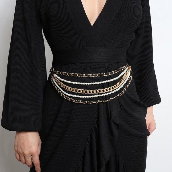 Cadena geométrica hecha a mano borla cuerpo cadena retro imitación perla cintura cadena NHXR179114