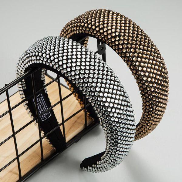 Black headband Fashion inlaid resin drill full diamond headband female soft sponge wide side cloth black headband NHLN179231