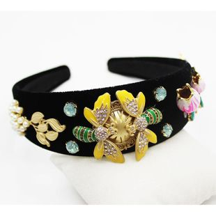 Jewelled headband Baroque tulip flower bee diamonds emerald geometric headband hair accessories NHWJ179285's discount tags
