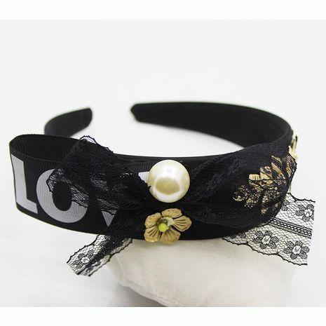 Diadema de nudo Nueva carta en inglés barroco LOVE Pearl Branch Headband Bow Card NHWJ179304's discount tags
