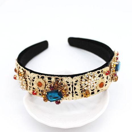 Diadema con joyas Diadema de metal barroco completo geometría de diamantes piedras preciosas retro palacio estilo diadema accesorios diadema NHWJ179312's discount tags