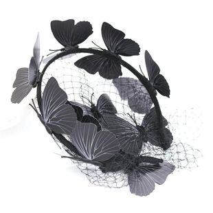 Embellished headband New Baroque Ball Butterfly Netting Hollow Headband Black Silk Luxury Hair Accessories NHWJ179315's discount tags
