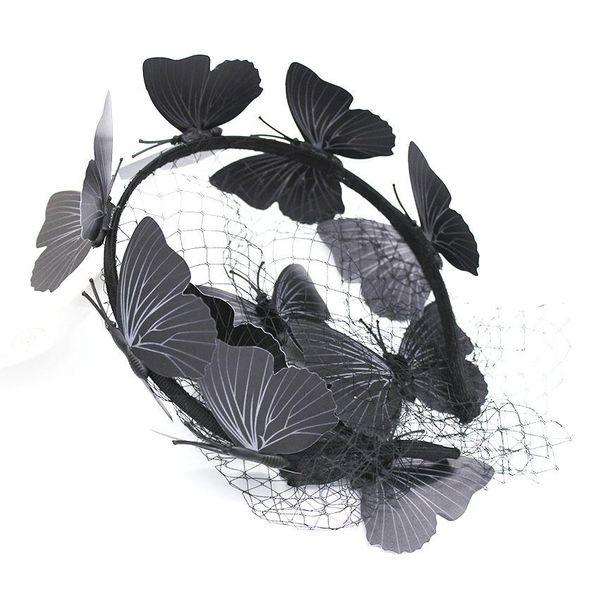 Embellished headband New Baroque Ball Butterfly Netting Hollow Headband Black Silk Luxury Hair Accessories NHWJ179315