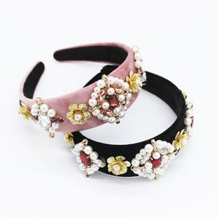 New Baroque new pearl headband fashion temperament two-color matching iron pearl geometric headband NHWJ179319's discount tags