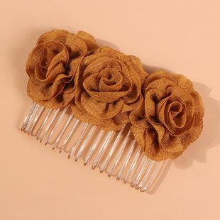 Bridal rose fabric solid color hairpin hair comb wholesales fashion NHMD179080's discount tags