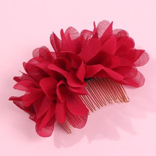 Fashion gauze flower hair comb solid color bride hair hair accessories women wholesales fashion NHMD179081's discount tags
