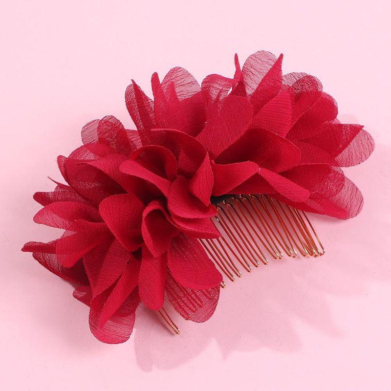 Fashion gauze flower hair comb solid color bride hair hair accessories women wholesales fashion NHMD179081
