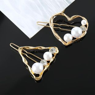 Hair accessories for girls Simple retro geometric pearl gold small hair clip NHKQ179048's discount tags