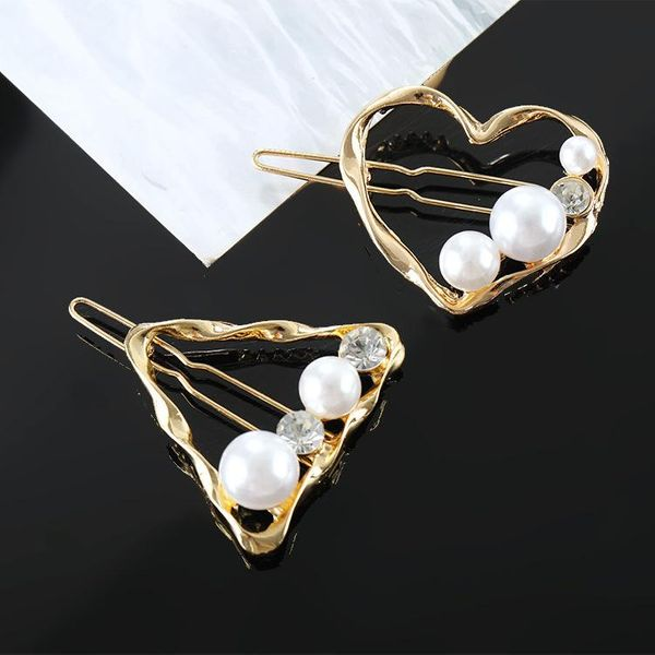 Hair accessories for girls Simple retro geometric pearl gold small hair clip NHKQ179048