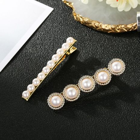 Accesorios para el cabello para niña Accesorios simples para el cabello coreano, una horquilla de perla de palabra, aleación de clip de flequillo al por mayor de moda NHSD179206's discount tags