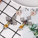 Crossstudded earrings retro court showway openwork versatile fresh earrings NHJJ179009