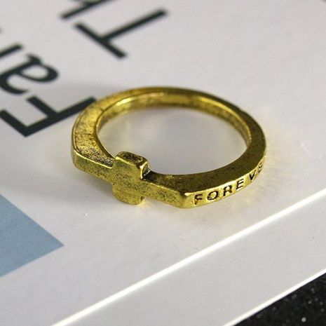 Best selling jewelry ring eternal alphabet ring personality cross ring tail ring little finger ring NHCU179723's discount tags