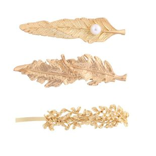 Hairpin new fashion alloy leaves pearl duckbill clip spring clip NHHN179719's discount tags