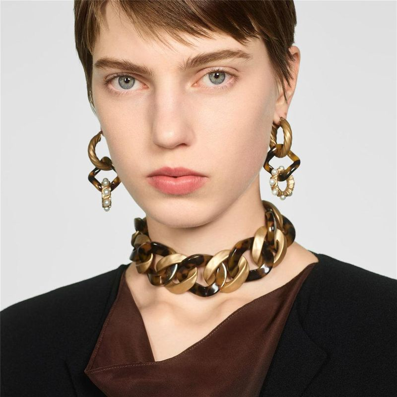 Alloy plate pearl earrings necklace set ornament fashion earrings creative necklace accessories NHJQ179589