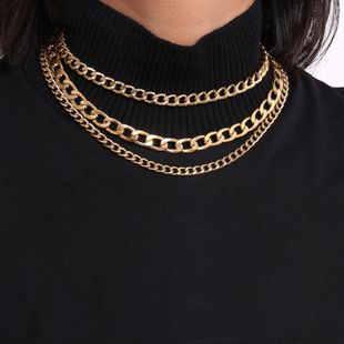 Thick and thin chain geometric retro item simple chain multi-layer tassel necklace NHXR179642's discount tags
