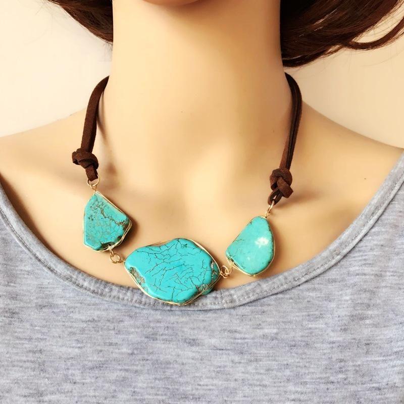 Natural Turquoise Irregular Stone Necklace Short Necklace Handmade Twisted Phnom Penh Necklace NHOM179811
